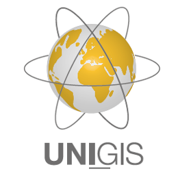 Logo UNIGIS International Association - kula ziemska z trzema orbitami satelitów